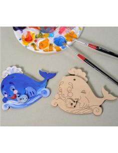 Balenuța - UGears 4Kids - puzzle 3d lemn de colorat pentru copii