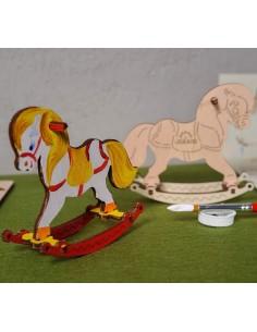 Leagăn căluț - UGears 4Kids - puzzle 3d lemn de colorat pentru copii