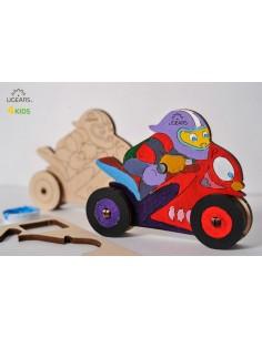 Motocicletă - UGears 4Kids - puzzle 3d lemn de colorat pentru copii