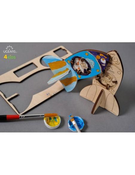 Racheta - UGears 4Kids - puzzle 3d lemn de colorat pentru copii