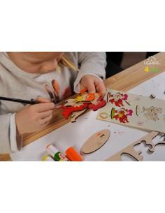 Cocoș - UGears 4Kids - puzzle 3d lemn de colorat pentru copii