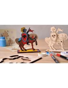 Cavaler - UGears 4Kids - puzzle 3d lemn de colorat pentru copii