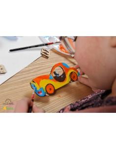 Mașinuță - UGears 4Kids - puzzle 3d lemn de colorat pentru copii