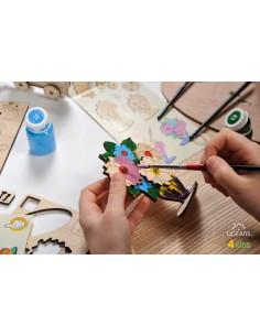 Buchet de flori - UGears 4Kids - puzzle 3d lemn de colorat pentru copii