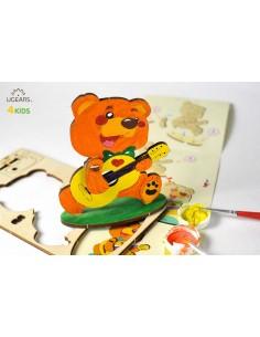 Ursuleț - UGears 4Kids - puzzle 3d lemn de colorat pentru copii