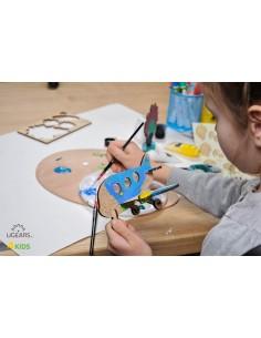 Avion - UGears 4Kids - puzzle 3d lemn de colorat pentru copii