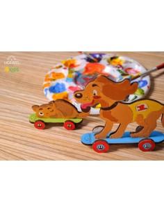 Cățeluș și pisicuță - UGears 4Kids - puzzle 3d lemn de colorat pentru copii