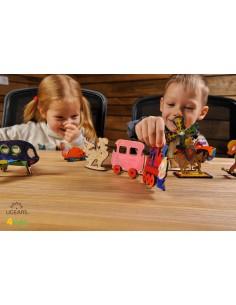 Locomotivă cu vagon - UGears 4Kids - puzzle 3d lemn de colorat pentru copii