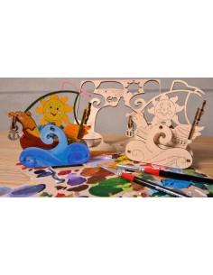 Velier - UGears 4Kids - puzzle 3d lemn de colorat pentru copii
