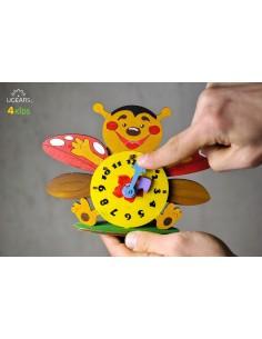 Ceas - UGears 4Kids - puzzle 3d lemn de colorat pentru copii