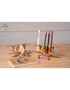 Biplan - UGears 4Kids - puzzle 3d lemn de colorat pentru copii
