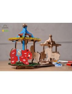 Carusel - UGears 4Kids - puzzle 3d lemn de colorat pentru copii