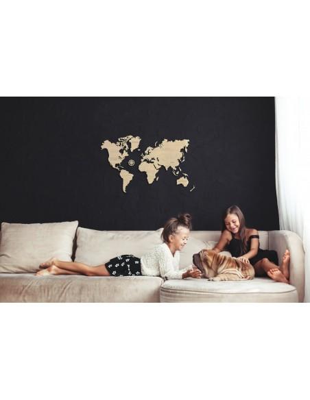 Harta lumii puzzle 3D lemn M