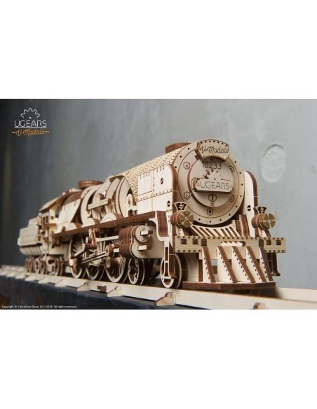 Tren V-Express locomotivă cu vagon UGears modele mecanice