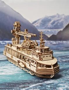 ugears nava de cercetare research vessel puzzle 3D lemn model mecanic