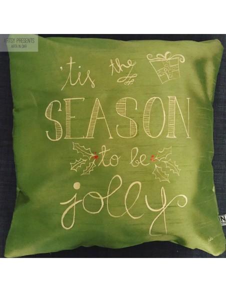 Pernă decorativă Crăciun (verde) - pictată manual