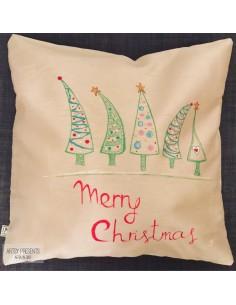 Pernă decorativă Crăciun (roșie) - pictată manual