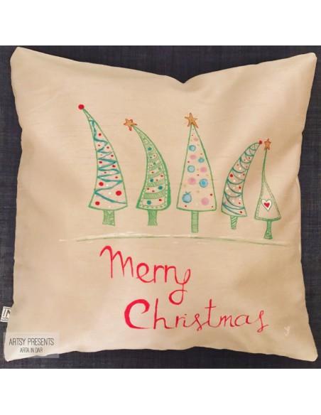 Pernă decorativă Crăciun (argintie) - pictată manual