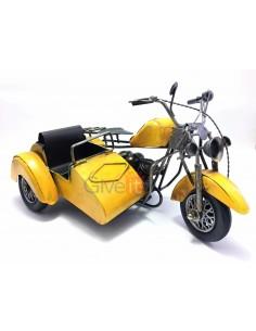 Motocicletă cu ataș galbenă macheta decorativa vintage